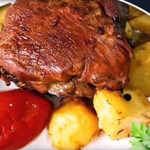 Friptură de Porc la Cuptor cu Cartofi din Cap de Piept de Porc în 11 Pași