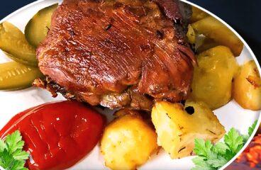 Friptură de Porc la Cuptor cu Cartofi din Cap de Piept de Porc în 11 Pași<span class=