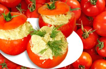 Roșii Umplute cu Salată de Vinete (Aperitive cu Roșii Umplute în 6 Pași)<span class=
